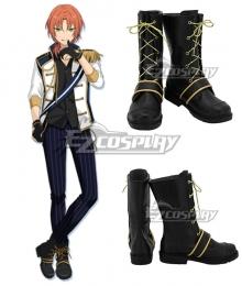 Ensemble Stars Knights Tsukinaga Leo Black Shoes Cosplay Boots
