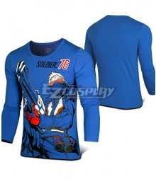 Overwatch OW Soldier 76 John Jack Morrison Blue Long sleeve T-shirt Cosplay Costume
