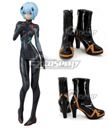 EVA Neon Genesis Evangelion Rei Ayanami Black Orange Shoes Cosplay Boots