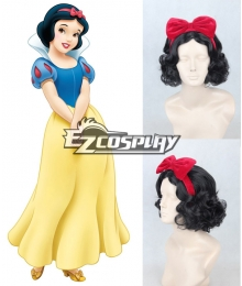 Disney Snow White Princess Red Headwear Black Cosplay Wig