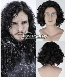 Game of Thrones Jon Snow Short Curly Black Cosplay Wig