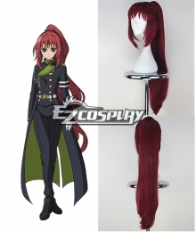 Seraph of the End Owari no Serafu Mito Jujo Long Straight Burgundy Color Cosplay Wig