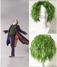 DC Comics The Dark Knight Joker Short Grass Green Fluffy Curly Hair Cosplay Wig