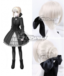 Fate Stay Night Black Saber Altria Pendragon King Arthur Silver Cosplay Wig