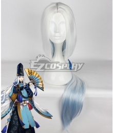 Onmyoji Abe no Seimei Gradient White Blue Cosplay Wig