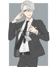 Yuri on Ice YURI!!!on ICE Victor Nikiforov Black Suit Cosplay Costume - No Belt
