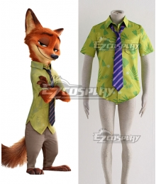 Disney Zootopia Nicholas P.Wilde Fox Nick Cosplay Costume - Only Shirt, Tie