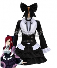 Fairy Tail Erza Scarlet Black Maid Dress Cosplay Costume