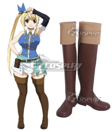 Fairy Tail Final Season Lucy Heartfilia Brown Shoes Cosplay Boots