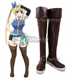 Fairy Tail Final Season Lucy Heartfilia Brown Shoes Cosplay Boots - A Edition