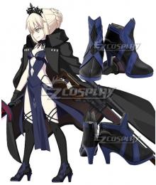 Fate Grand Order Artoria Pendragon Rider Alter Black Blue Cosplay Shoes