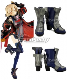 Fate Grand Order Berserker Mysterious Heroine X Alter Blue Silver Shoes Cosplay Boots