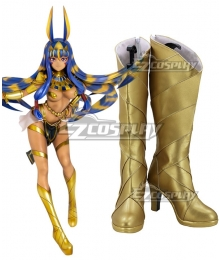 Fate Grand Order Caster Nitocris Golden Shoes Cosplay Boots