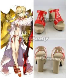 Fate Grand Order Caster Saber Nero Claudius Swimsuit Red Cosplay Shoes