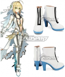 Fate Grand Order Fate Extra CC Saber Nero Claudius Caesar Augustus Germanicus Bride White Blue Cosplay Shoes
