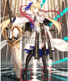 Fate Grand Order FGO Caster Artoria Pendragon Stage 3 Black Cosplay Shoes