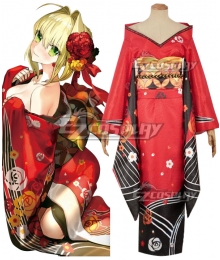 Fate Grand Order FGO Saber Caster Nero Claudius Kimono Cosplay Costume
