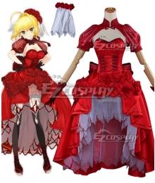 Fate Grand Order FGO Saber Caster Nero Claudius Rose Dress Cosplay Costume