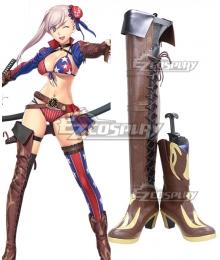 Fate Grand Order FGO Saber Miyamoto Musashi Brown Shoes Cosplay Boots