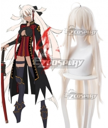 Fate Grand Order Saber Alterego Okita Souji Alter Milky White Cosplay Wig 235X