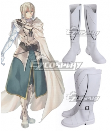 Fate Grand Order Saber Bedivere White Silver Shoes Cosplay Boots