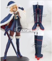 Fate Grand Order Saber Christmas Deep Blue Shoes Cosplay Boots