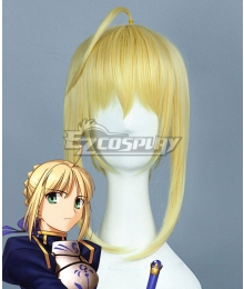 Fate Stay Night Fate Zero Saber Altria Pendragon King Arthur Yellow Cosplay Wig - B Edition
