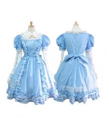 Sweet Blue Maid Dress Lolita Cosplay Costume ELT0021