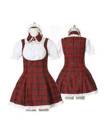 Sweet Red Plaid Maid Cosplay Lolita Cosplay Costume ELT0019