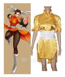 Street Fighter Chun Li yellow Cosplay Costume
