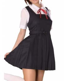 Black Dress Short Sleeves School Uniform Cosplay Costume