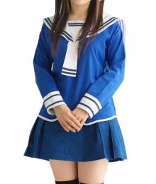 Blue Long Sleeves School Uniform Cosplay Costume