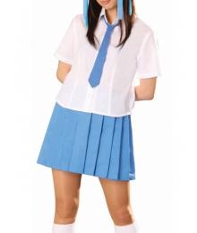 Blue Tie Blue Short Sleeves School Uniform Cosplay Costume