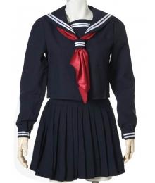 Deep Blue Long Sleeves Sailor Uniform Cosplay Costume