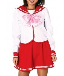 Red Skirt Long Sleeves School Uniform Cosplay Costume