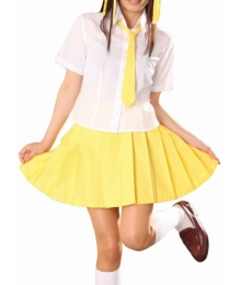 Short Sleeves Yellow Skirt School Uniform Cosplay Costume
