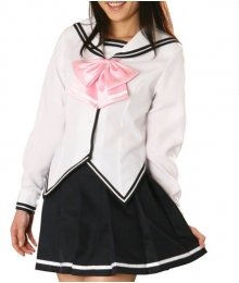 White Jacket Black Skirt Long Sleeves School Uniform Cosplay Costume