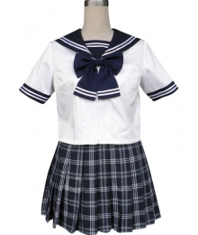 Royal Blue Short Sleeves Grid Skirt Sailor Uniform Cosplay Costume