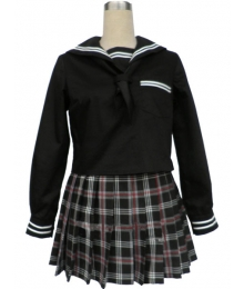 Black Short Sleeves Grid Skirt Sailor Uniform Cosplay Costume