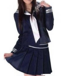 Deep Blue Long Sleeves School Uniform Cosplay Costume