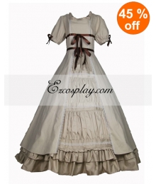 Cutton Off-white Short Sleeve Gothic Lolita Dress