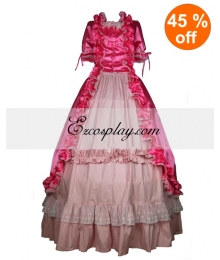 Satin Pink Short Sleeve Gothic Lolita Dress