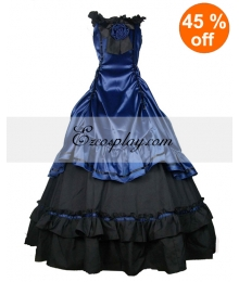 Satin Blue Black Classic Lolita Dress