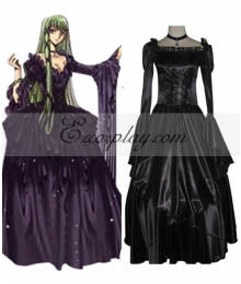 Code Geass C.C Black Dress Cosplay Costume