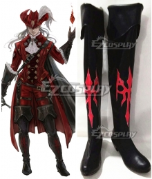 Final Fantasy14 Red Mage Black Shoes Cosplay Boots