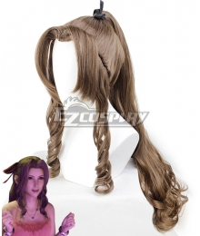 Final Fantasy VII Remake FF7 Aerith Gainsborough Ver 3 Brown Cosplay Wig