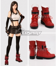 Final Fantasy VII Remake FF7 Tifa Lockhart Red Cosplay Boots