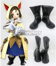 Final Fantasy XIV ff14 Krile Mayer Baldesion Black Cosplay Shoes