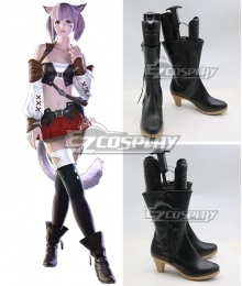 Final Fantasy XIV Miqo'te Female Black Shoes Cosplay Boots