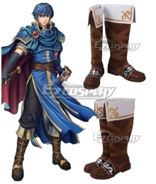 Fire Emblem Marth Brown White Shoes Cosplay Boots
